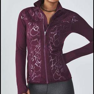 Fabletics EUC Rose pattern wine color jacket